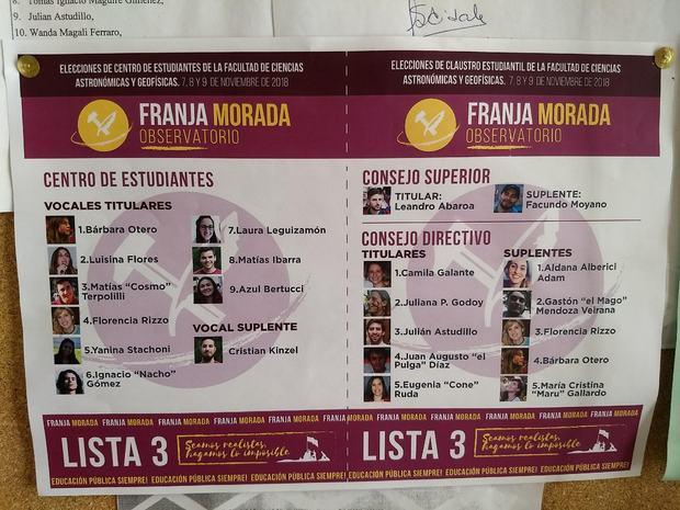 La imagen corresponde a la Lista de Franja Morada.