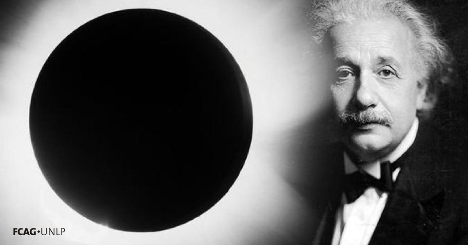 La imagen corresponde a la observación del eclipse total de Sol en 1919 y el rostro de Albert Einstein.