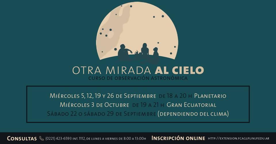 La imagen brinda detalles de fechas etc. sobre el Curso (que ya están en los datos escritos). Hay un dibujo de una enorme Luna y en primer plano, tres personas sentadas en el pasto frente a ella.