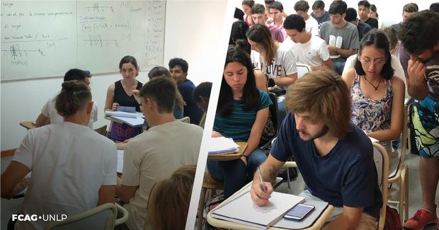 La imagen corresponde a dos momentos en que grupos de estudiantes están compartiendo su actividad en sus bancos.