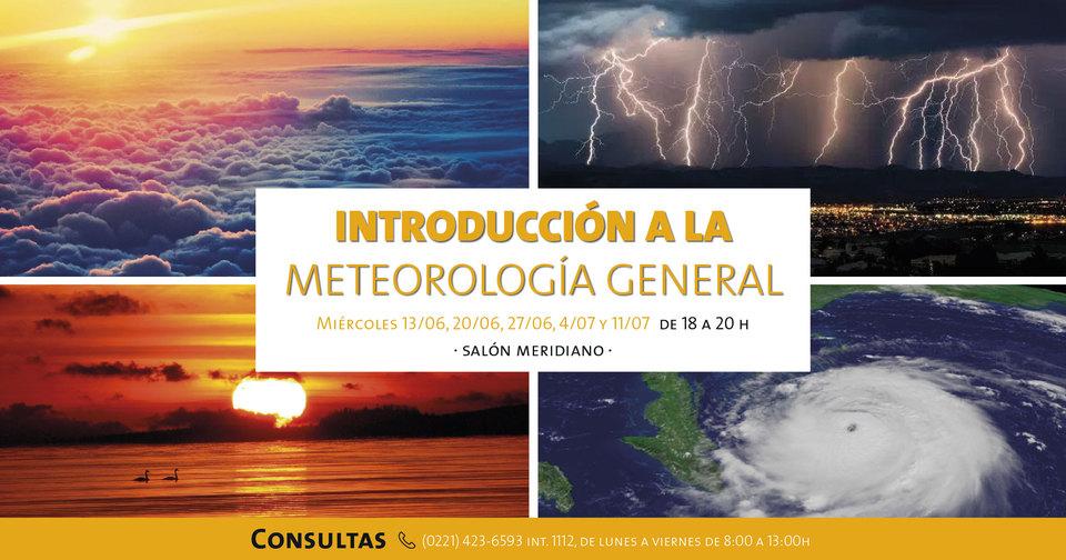 La imagen corresponde a  la promoción del Curso sobre Meteorología con datos que figuran en el texto de la gacetilla. Hay imágenes de nubes, rayos.