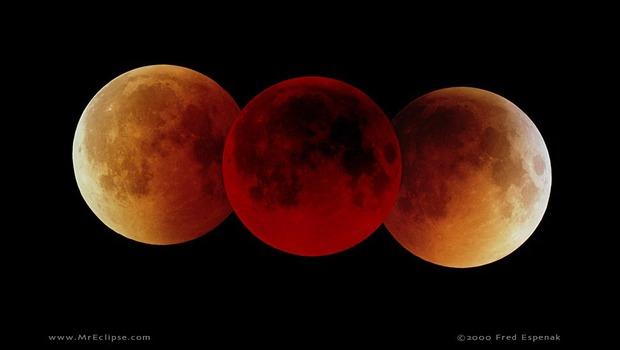La imagen corresponde a un eclipse  total de Luna y su diferente coloración según ingresa en el cono de sombra.