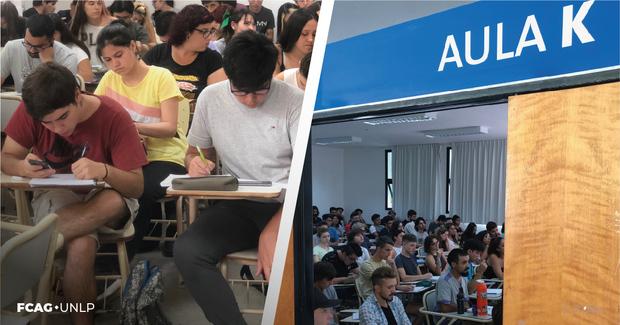 La imagen corresponde a estudiantes escribiendo sus prácticas dentro del aula y a la puerta de ingreso a una de ella.