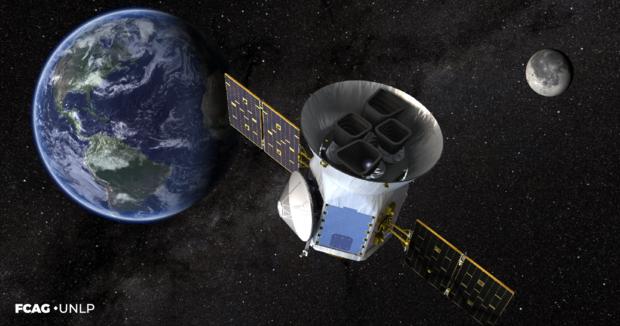 La imagen corresponde a la misión espacial TESS. Se observa el módulo en el espacio con el planeta Tierra de fondo.
