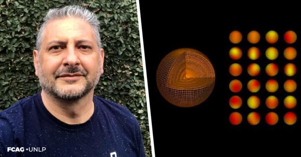 La imagen corresponde al Dr. Alejandro Córsico y a una ilustración de una enana blanca pulsante (corte de la estrella que va mostrando sus capas hasta el interior de la misma).