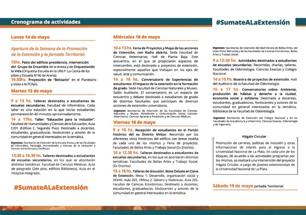La imagen corresponde a la agenda de actividades de la Semana de la Extensión.